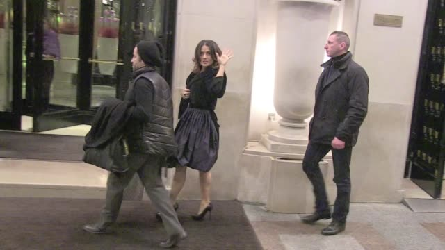 lots of fans waiting for salma hayek and husband francois henri pinault and antonio banderas living the famous georges v four seasons hotel in paris... - salma hayek stock videos and b-roll footage
