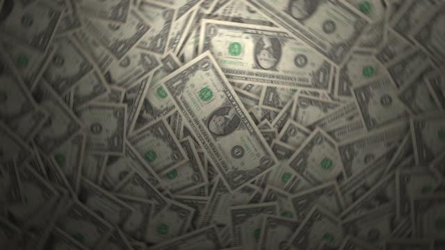 Lots of One Dollar Bills. 4k