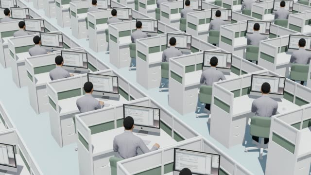 lots of peoples working in cubicle workspaces in huge office space, 4k business concept stock video - repetition stock videos & royalty-free footage