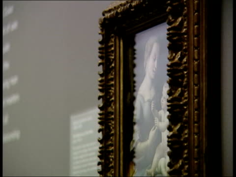 lottery fund payment prevents loss of 'madonna of the pinks' painting itn london national gallery bvs woman looking at 'the madonna of the pinks'... - raphaël haroche stock videos & royalty-free footage