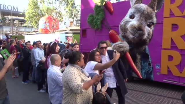 Lou Diamond Philips with fans at the premiere of 'Peter Rabbit' at The Grove in Los Angeles at Celebrity Sightings in Los Angeles on February 03 2018...