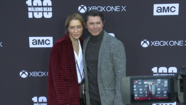 lou diamond phillips and yvonne marie boismier phillips at the amc's the walking dead 100th episode season 8 special premiere screening at the greek... - yvonne boismier phillips stock videos & royalty-free footage