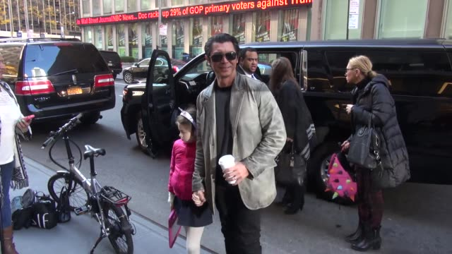 Lou Diamond Phillips promoting 'The 33' arrives at SiriusXM Satellite Radio with his daughter and wife and poses for photos with and signs for fans...