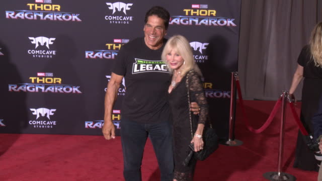 lou ferrigno and carla ferrigno at the thor ragnarok premiere at the el capitan theatre on october 10 2017 in hollywood california - thor: ragnarok stock videos & royalty-free footage