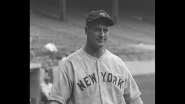 cu lou gehrig / he looks at and away from the camera - lou gehrig stock videos & royalty-free footage