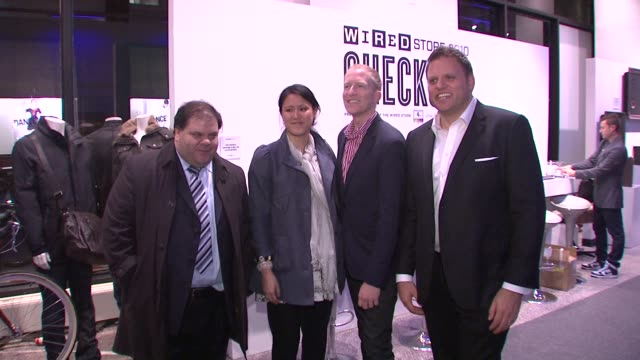 lou paskalis rachel chan chris bower and howard mittman at the wired celebrates the 2010 wired store experiential gallery opening in noho at new york... - l'uomo e la macchina video stock e b–roll