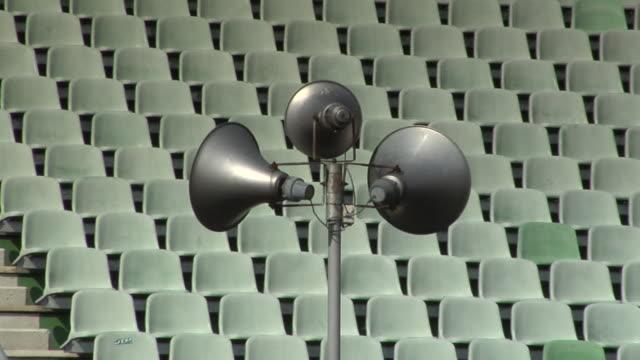 ms loudspeakers in stadium / hockenheim, baden-württemberg, germany  - megaphone stock videos & royalty-free footage