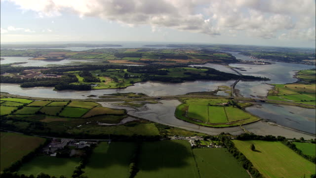 lough mahon and belvelly channel  - aerial view - munster, cork, ireland - sea channel stock videos and b-roll footage