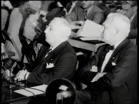 louis b mayer telling the committee that he has never encountered communists in his studio / chairman asking if he thinks it is possible that one day... - house committee on unamerican activities stock videos & royalty-free footage