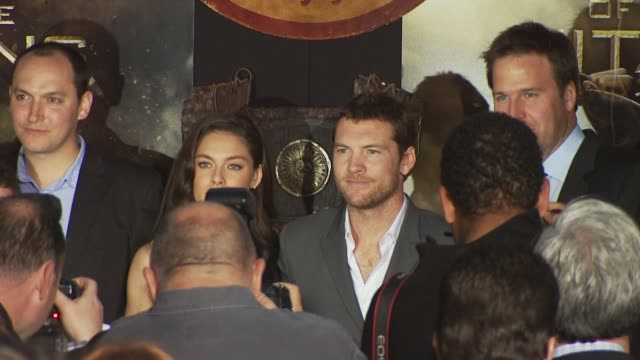 louis leterrier alexa davalos and sam worthington at the 'clash of the titans' premiere at hollywood ca - clash of the titans stock videos & royalty-free footage