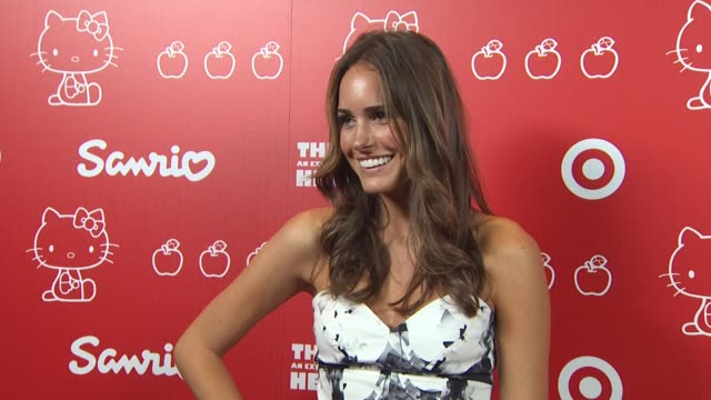 louise roe at the hello kitty's 35th anniversary celebration at culver city ca - hello kitty stock videos and b-roll footage