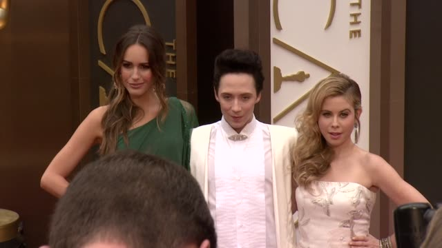 Louise Roe Johnny Weir and Tara Lipinski 86th Annual Academy Awards Arrivals at Hollywood Highland Center on March 02 2014 in Hollywood California