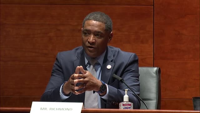louisiana congressman cedric richmond says at a house judiciary committee hearing on the justice in policing act to reform law enforcement practices... - disegno di legge video stock e b–roll
