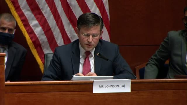 louisiana congressman mike johnson engages attorney general bill barr at a house judiciary committee hearing about the obama biden administration... - attorney general stock videos & royalty-free footage