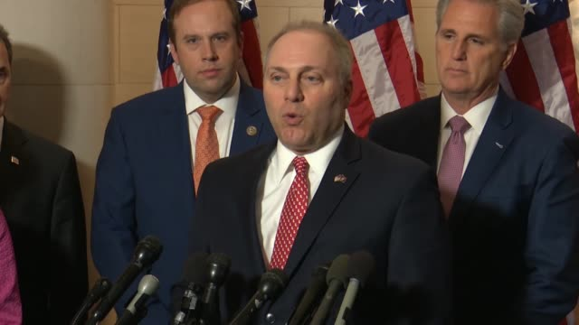 vídeos de stock, filmes e b-roll de louisiana congressman steve scalise says that as a new minority working to earn back the majority was to do a better job of letting people knowing... - política e governo