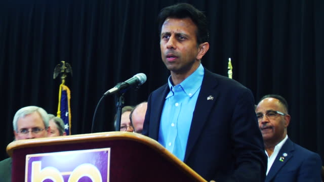 louisiana governor bobby jindal at bossier parish community college - community college stock videos & royalty-free footage