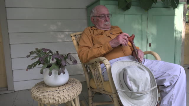 louisiana old man with cane in a chair - louisiana stock videos & royalty-free footage
