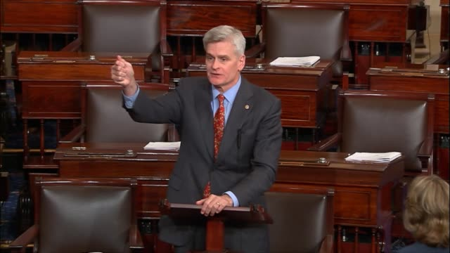 louisiana senator bill cassidy discusses a proposed health care bill the patient freedom act cosponsored with maine senator susan collins cassidy... - good condition stock videos and b-roll footage