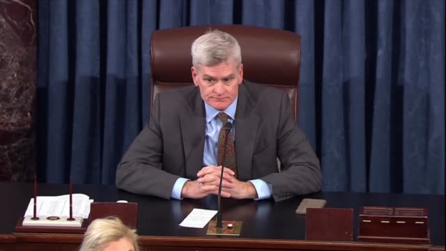 louisiana senator bill cassidy puts the question of passage on a war powers resolution regarding saudi arabia and a civil war in yemen the clerk... - united states congress stock videos & royalty-free footage