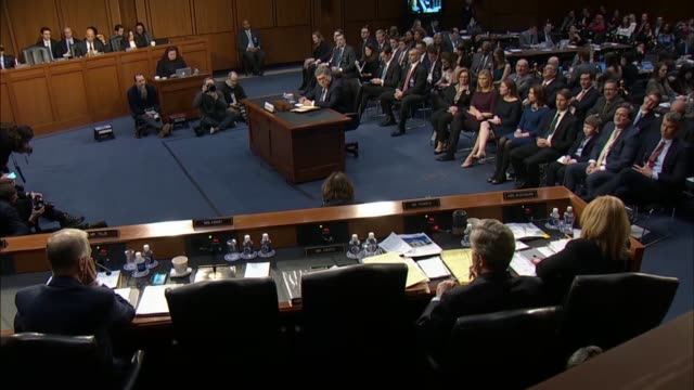 louisiana senator john kennedy asks attorney general nominee william barr at his confirmation hearing in the senate judiciary committee whether he... - senate stock videos & royalty-free footage