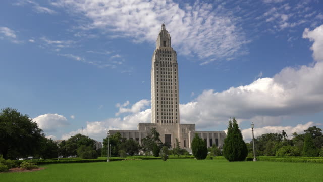 Louisiana State Capitol Building against sky in Baton Rouge, tilt up