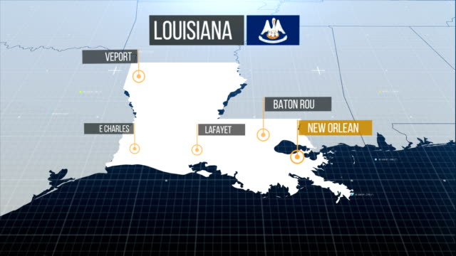 louisiana state map - southern usa stock videos & royalty-free footage