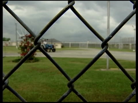 chain gangs / prison general views various of inside of prison compound shot through chain link fence - louisiana video stock e b–roll