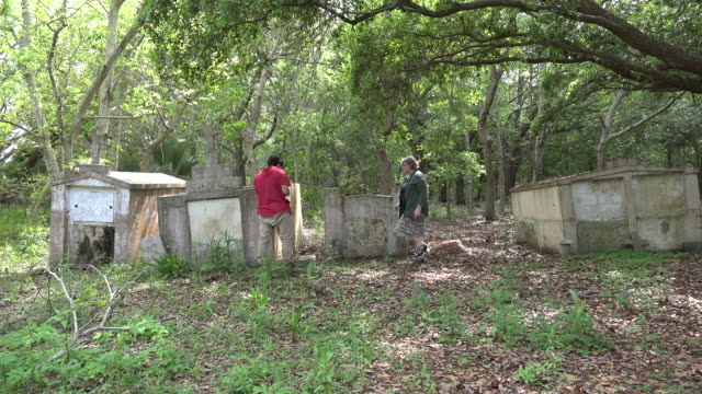 louisiana woman and boy look at old tombs - one teenage boy only stock videos & royalty-free footage