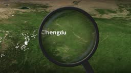 Loupe finds Chengdu city on the map, 3d rendering