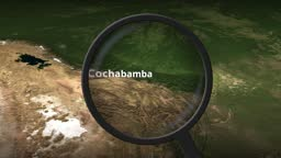 Loupe finds Cochabamba city on the map, 3d rendering