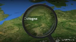 Loupe finds Cologne city on the map, 3d rendering