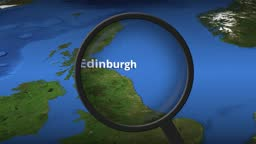 Loupe finds Edinburgh city on the map, 3d rendering