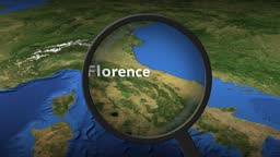 Loupe finds Florence city on the map, 3d rendering