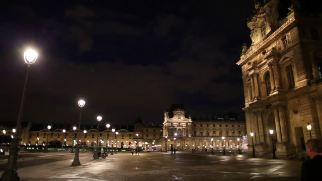 ws louvre at night / paris, france - louvre stock videos and b-roll footage