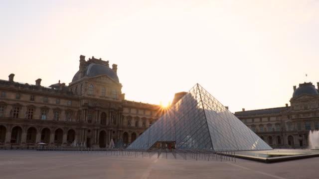 louvre museum courtyard, tracking left - contrasts stock videos and b-roll footage