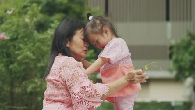 liebe emotion mit thai großmutter und enkelin - großeltern stock-videos und b-roll-filmmaterial