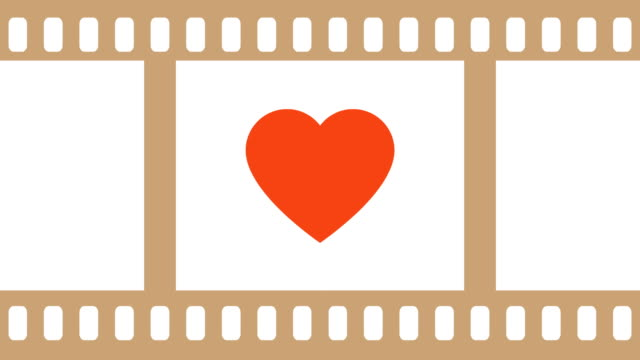 Love Heart Beating Inside A Camera Film Negative Illustrative Cinemagraph Style