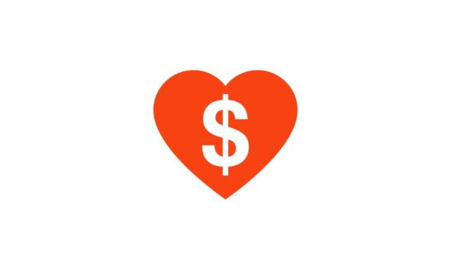 kärlek hjärta att slå med ett dollartecken belysande cinemagraph stil - lyssna på hjärtslag bildbanksvideor och videomaterial från bakom kulisserna