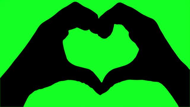 Love Heart human hand blue screen to green screen Silhouette Chroma key