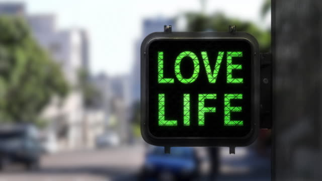 love life. have fun!—closeup of walk signal with fun phrase - green light stock videos & royalty-free footage