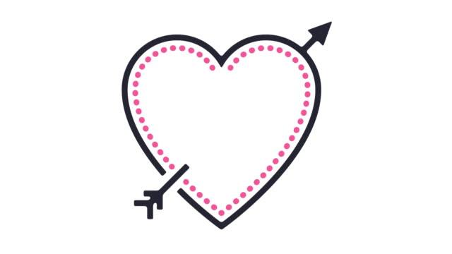 vídeos de stock, filmes e b-roll de amor animação de ícone de linha - cupido
