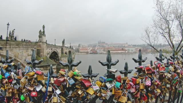 ms love lock padlocks along vltava river,prague,czech republic - river vltava stock videos & royalty-free footage