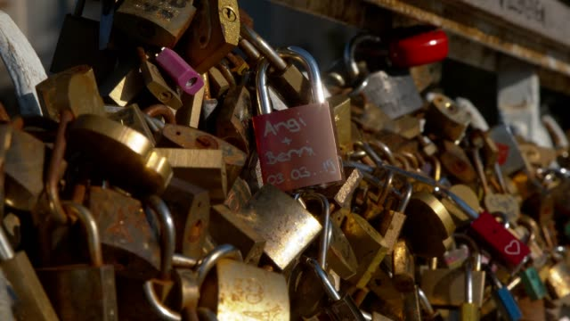 love locks in paris france - altri temi video stock e b–roll
