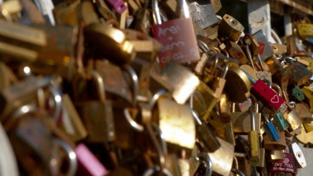 love locks in paris, france - weitere themen stock-videos und b-roll-filmmaterial