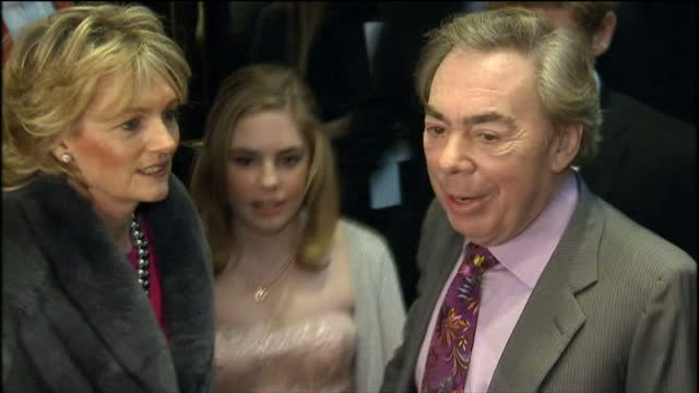 'love never dies' premiere at the adelphi theatre in london shows exterior shots of andrew lloyd webber posing for photographers at the theatre... - adelphi theatre stock videos & royalty-free footage