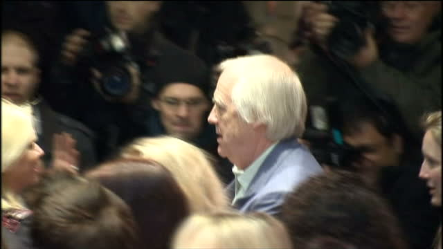 'love never dies' premiere at the adelphi theatre in london shows exterior night shots of tim rice arriving at the premiere - tim rice stock videos and b-roll footage