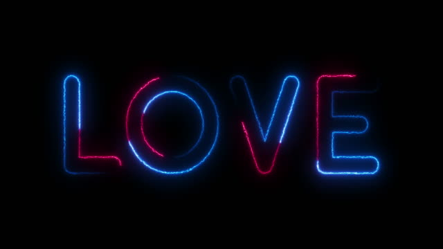 love. valentines day. wedding. neon text with shadow. modern trend design, night neon signboard, night bright advertising, light banner, light art. neon blue and pink light blinking on a dark backgraund. - world title stock videos & royalty-free footage