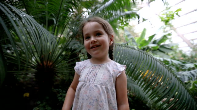 lovely child having fun at the botany zoo garden - botanical garden stock videos & royalty-free footage