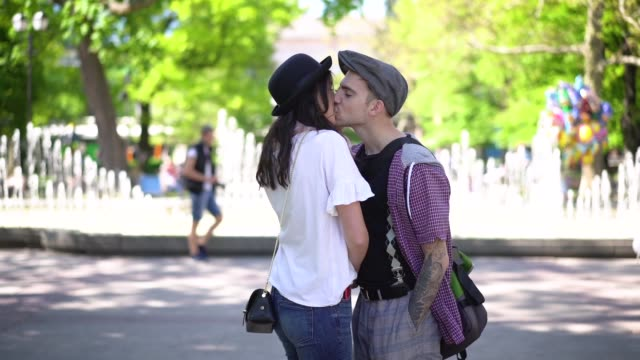 lovely couple dating in the park - suspenders stock videos and b-roll footage