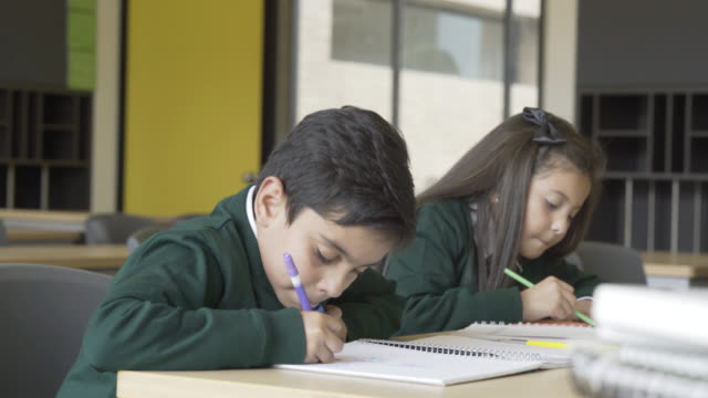 lovely kids working in their notebooks in class at school - school uniform stock videos & royalty-free footage